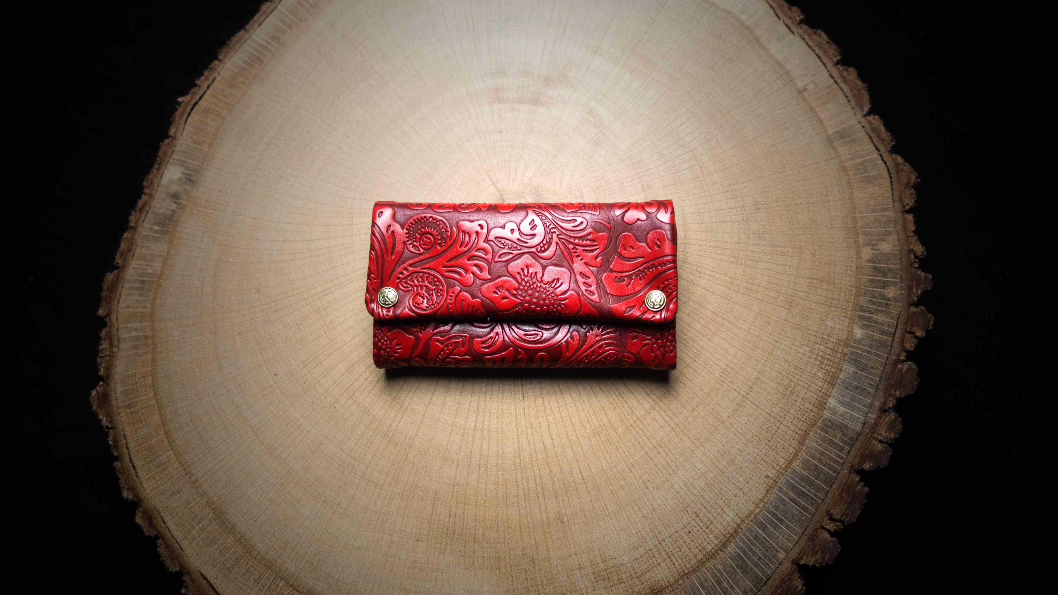 "TPU25 Tobacco Pouch ""Red Flower"" Faux Leather (PU)"